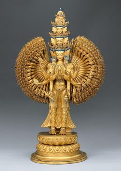 Tibetan thousand armed Avalokiteshvara statue.