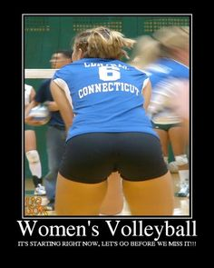 Volleyball-best uniforms on the planet.  When does the game start?