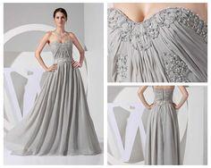 Gray prom dresses sweatheart chiffon beaded bridesmaid dress formal evening dress/cocktail dress/homecoming dress. $136.00, via Etsy.