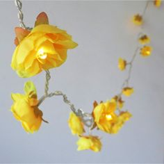 Provencal Yellow Shabby Rose Fairy Lights Pretty Flower String Lights for Party Home Table Decor