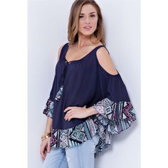 Navy Aztec Trim Cold Shoulder Tunic *NWT *Scoop neck *Cold shoulder bell sleeves *Tassel tie front *Pretty Aztec trim *Ruffle hem *Comfortable loose fit *S, M, L  *NO TRADE/HOLD  *YES BUNDLES Create your own no hassle bundle15% Off❗️  *PLEASE ASK QUESTIONS & READ DESCRIPTIONS❗️Measurements and sizing recommendations are for guidance purposes only. I cannot speak for every body type. Please understand that buying online does have some risk❗️ Boutique Tops Tunics