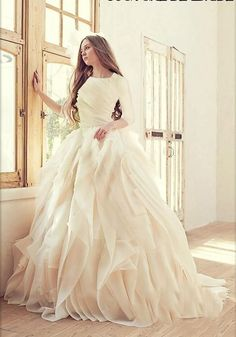 Ivory Ball Gown Wedding Dresses 2016 Long Sleeves Bridal Gown Crew Neckline Luxury Tieres Skirt Modest Wedding Gown Cascading Ruffles Silk Dresses Wedding Gowns 2014 From Graceful_ladies, $162.31| Dhgate.Com More