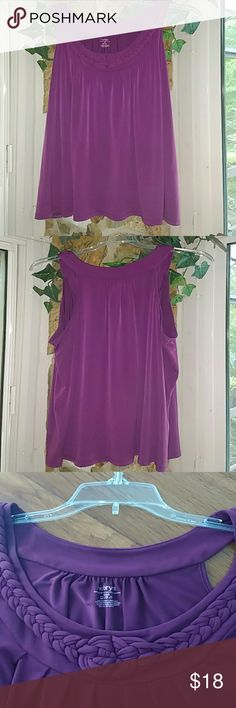 Perfectly Plum Top by Lane Bryant Perfectly plum top - sleeveless top with a modified halter style neckline. Sweet braiding along the neck adds a lovely detail. Flowy fit. Like new Condition, great quality fabric feel - polyester/spandex blend. Made by Lane Bryant sz 18/20 Lane Bryant Tops Tank Tops
