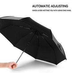 Windproof Umbrella by Nicecho Unbreakable Light Vinyl Canopy Travel Rain Umbrella Auto Open Close Stylish Black Design for Women  Men Lifetime Replacement Guarantee * Click image for more details.