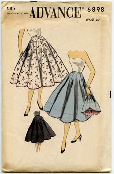 Advance 6898, ca 1954; Waist 26''.  Scalloped petticoat with under-ruffle, fitted at hips and flared below