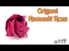 Origami Rose Kawasaki - Yakomoga Origami tutorial  *****
