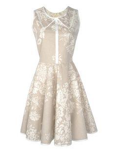 Natural Floral Peter Pan Collar Dress