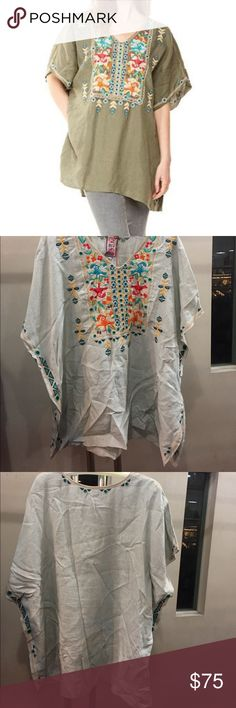 """Sita Linen Embroidered Poncho Johnny Was Drop shoulder oversized fit wide armholes and side slits. Bust up to 48"""" Length 32"""" 👉small spots on front barely noticeable Johnny Was Tops Tunics"""