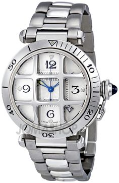 Cartier Pasha Steel Grid Mens Watch W31059H3 $5,395
