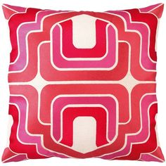Trina Turk Ogee Pink Embroidered Linen Pillow