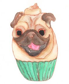 Pug Cupcake - 100 Days of Dog Doodles by Claire Chambers - Chickenpants.com