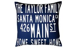 PERSONALIZE IT!  Personalized City Pillow, Navy  UPTOWN ARTWORKS