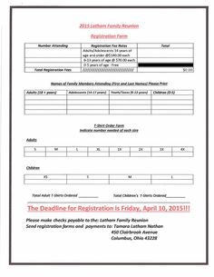 Registration Form Example | Reunion registration | Pinterest ...