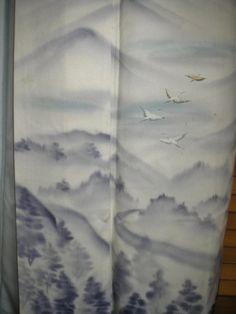 ART KIMONO Handpainted Vintage Japanese Silk by WandererTextiles