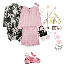 """The Pink Gingham Dress and The Black Floral Kimono"" by onesweetthing on Polyvore featuring M&Co, Rochas, RED Valentino, My Flat In London, Karen Walker, Melissa Joy Manning, Bobbi Brown Cosmetics, MAC Cosmetics, Bulgari and Deborah Lippmann"