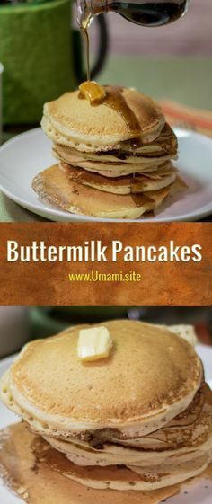 Soft, fluffy buttermilk pancakes with warm maple syrup are a great way to start the morning.  This buttermilk pancake recipe makes delicious, light golden-brown pancakes with a hint of cinnamon.