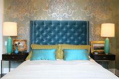 Kopfteile für Betten samt türkis dunkel blau schlafzimmer