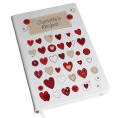 Personalised Fabric Hearts Hardback Notebook :: Made by us, created by you - In Stock Now - Fast UK Despatch. Hardback Notebook, A5 Notebook, Personalized Gifts For Her, Personalized Notebook, Valentines Day Presents, Fabric Hearts, Gifts For Cooks, Book Stationery, Romantic Gifts