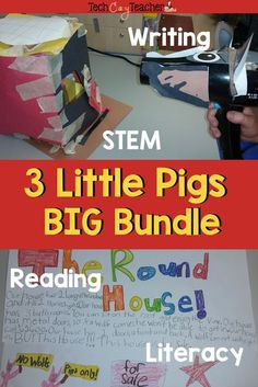 This 3 little Pigs Big Bundle is full of elementary activities! Students engage in a STEM project where they build a house that can't be blown down. They design a poster and use persuasive writing. Students also respond to literature with the reading resp Reading Resources, Reading Skills, Teacher Resources, Teaching Ideas, Reading Anchor Charts, Stem Activities, Spring Activities, Reading Response, Persuasive Writing