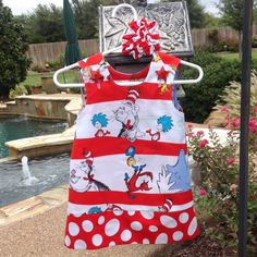 Dr. Seuss, Cat In The Hat Dress, Red & White (baby, infant, girl, child, toddler)  -  with matching hair accessory