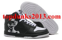 Authentic Naruto Black White Nike Dunk SB High Top Men