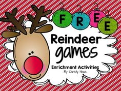 "Holiday FREEBIE! This free download is full of fun, meaningful enrichment activities for students in grades 4 and 5! ""Reindeer Games"" includes a series of free printables designed to promote critical and creative thinking. The free activities include: - Logic Puzzles - Patterns - Math - Brainstorming - Art - Creative Thinking - An answer Key - Teacher Tips If you and your students enjoy these activities, you may also like the following differentiated enrichment activities: Fraction ..."