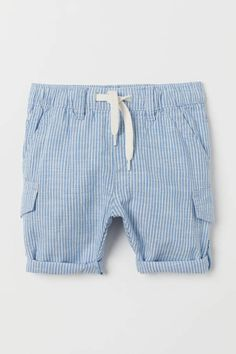 Pants in woven cotton fabric can be converted to shorts. Elasticized drawstring waistband mock side pockets and mock leg pockets. Legs with roll-up tab and button. World Of Fashion, Kids Fashion, Streetwear Shorts, Fashion Company, Clothes For Sale, Baby Boy Outfits, Neue Trends, Blue And White, Dark Blue