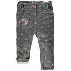 Jolie fleur Pantalon en twill, Fille 6 à 24 mois Gris à motifs