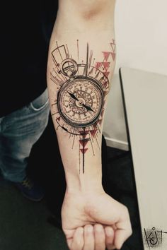 Koit Tattoo Berlin Compass tattoo | Arm / Forearm | black and red ink | graphic style tats | ideas and inspiration | Germany tattoo artist | Geometric tattoo design | tattoo artists | Triangles | tattoo for guys | Tatouage | Tätowierung | Tatuaggio | Tatuaż | Tatuaje