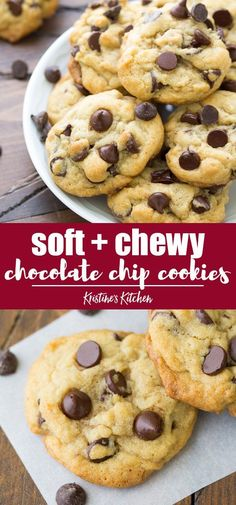 The best soft and chewy chocolate chip cookies recipe! This easy recipe is made … The best soft and chewy chocolate chip cookies recipe! This easy recipe is made with a secret ingredient for the chewiest homemade chocolate chip cookies from scratch. Chocolate Chip Granola Bars, Homemade Chocolate Chips, Vegan Chocolate Chip Cookies, Chocolate Chocolate, Chocolate Chip Recipes Easy, Homemade Snickers, Homemade Brownies, Healthy Chocolate, Cookie Recipes From Scratch