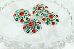 Vintage Christmas Rhinestone Bling 28mm Acrylic by PiperAlley
