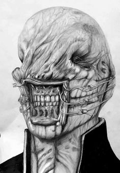 Chatterer by Indie Matharu Graphite pencil on white paper Scary Movie Characters, Scary Movies, Horror Movies, Good Movies, Sci Fi Art, Horror Art, White Paper, Perfect Body, Graphite