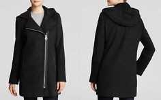 Calvin Klein Hooded Wool Coat with Boucle Trim