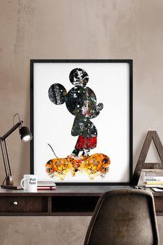 Mickey Mouse Disney poster wall art disney prints by iPrintPoster Casa Disney, Disney Rooms, Disney Art, Disney Home Decor, Disney Crafts, Disney Decorations, Mickey Mouse Wallpaper, Disney Wallpaper, Image Princesse Disney