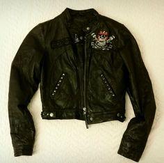 Womens Black ED HARDY Leather Moto Jacket, Sz XS #EdHardy #Motorcycle