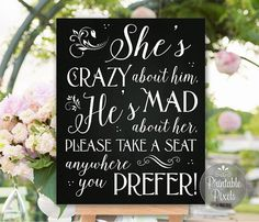 Choose A Seat Not A Side Wedding Sign Chalkboard Printable No Seating Plan…