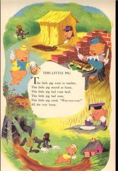 Three Little Pigs Nursery Rhymes Lyrics, Old Nursery Rhymes, Rhyming Preschool, Short Stories For Kids, Kids Poems, Rhymes For Kids, Disney Nursery, Three Little Pigs, Children's Literature