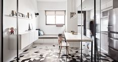 I love the idea of a guest room slash study with a shared table top with the kitchen, versatile as your desk (for the study) or worktop (for the kitchen) Love, Love, Love 台中 18 坪簡約花磚公寓 - DECOmyplace