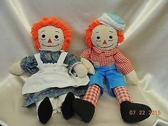 Vintage Handmade Raggedy Ann & Andy 18 20 Tall by MyVintageDollBox  Love these legs!