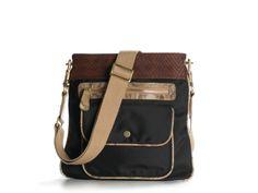 Poppie Jones Canvas Stripe Messenger Shoulder Bag 121