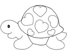 a turtle with hearts applique Applique Templates, Applique Patterns, Applique Quilts, Applique Designs, Embroidery Applique, Quilt Patterns, Embroidery Designs, Owl Templates, Colouring Pages