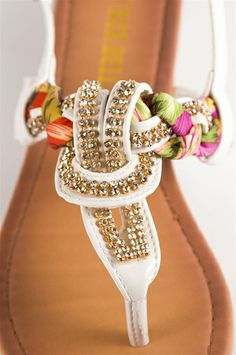 Jeweled and Woven Scarf Thong Sandal - White. Just ordered these! So excited!