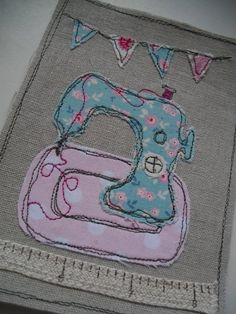 Handstitched embroidered  sewing machine by SewSweetbySuzanne