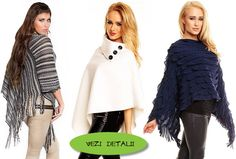 modele de poncho ieftine tricotate cu franjuri Winter, Fashion, Templates, Tricot, Winter Time, Moda, Fashion Styles, Fasion