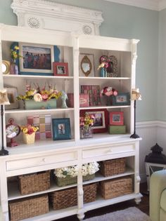 Spring decor redo an old hutch to look like this