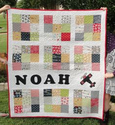 The quilt I made for my nephew's 3rd birthday. It is primarily made from the Reunion line from Moda. The white based polka dot design squares didn't show up to well in this picture.