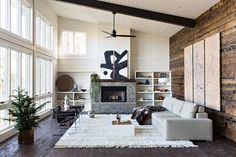 Modern Wooden House in Alabama. Living Room. Fireplace.