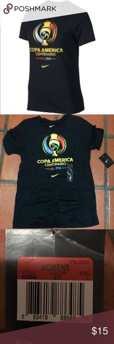Nike Copa America 2016 Logo T-shirt Brand new with tags Nike Copa America Centenario t-shirt.  Black with short sleeves.  Reasonable offers only Nike Tops Tees - Short Sleeve