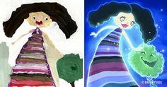 Kids' drawings recreated byBright Side illustrators