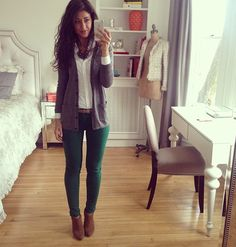 Love the green pants!!! But maybe with olive green pants instead